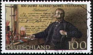 Francobollo tedesco commemorativo del testamento di Nobel