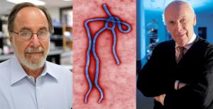 I Nobel per la medicina David Baltimore(sinistra) e James Watson (destra) sono tra i firmatari di una nuova proposta per sconfiggere ebola (centro)
