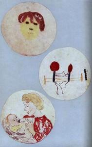 Fotografie di alcuni dipinti di Alexander Fleming, realizzati utilizzando batteri colorati, conservate presso l'Alexander Fleming Laboratory Museum a Londra.