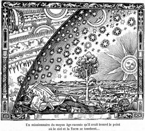 Flammarion 1888, un viaggiatore scruta oltre il firmamento. Credits: Wikimedia Commons