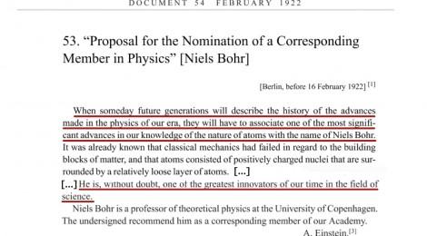 Niels Bohr raccomandazione