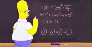 Il fermo immagine della puntata de I Simpson dove Homer calcola la massa del bosone di Higgs (Creative Commons tramite Google)