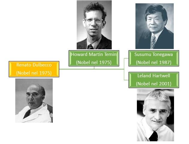 In un laboratorio diretto da un Nobel (Renato Dulbecco), nel quale lavora anche lo scienziato con il quale ha condiviso il premio (Howard Temin), può crearsi il micro ambiente ideale per altre due menti da Nobel