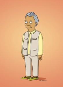 Muhammad Yunus, Nobel per la pace 2006, oltre a diventare un personaggio Simpson, interviene nella serie con la sua voce (Credits ©2015wikisimpsons tramite simpsonswiki)