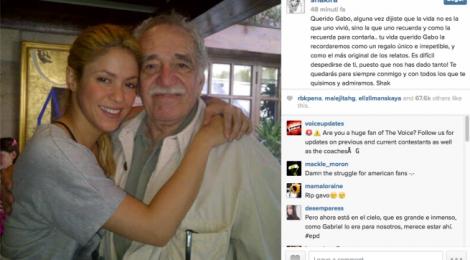 Il post di Shakira per salutare Gabriel García Márquez, suo fan e sostenitore. I due si conobbero in Messico a un concerto della cantante.