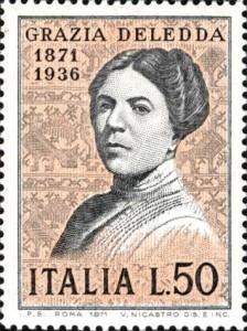 Francobollo dedicato alla scrittrice Grazia Deledda nel 1971, in occasione del centenario della nascita.