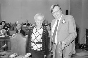 Rita Levi Montalcini, Nobel per la medicina 1986 e Carlo Rubbia, Nobel per la fisica 1984, durante la riunione dei Premi Nobel in Vaticano , 30 ottobre 1986. ANSA