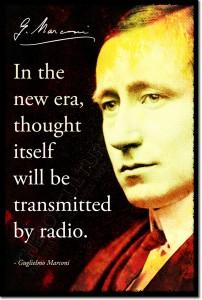 """""""Nella nuova era il pensiero stesso sarà trasmesso via radio"""" Pensiero di Marconi su cartolina dell'epoca(Credits:Google images)"""