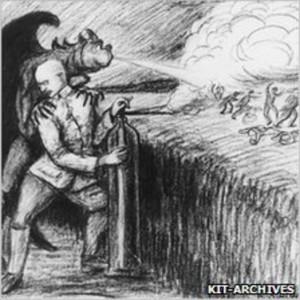 """Disegno fatto da un collega di Haber e dal titolo: """"Il diavolo e Fritz Haber come guerrieri del gas"""""""