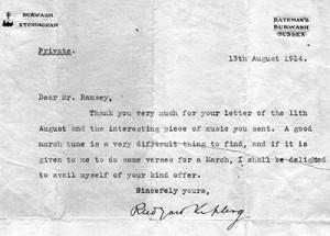 Lettera che Rudyard Kipling scrisse a William Ramsey per congratularsi del suo componimento musicale