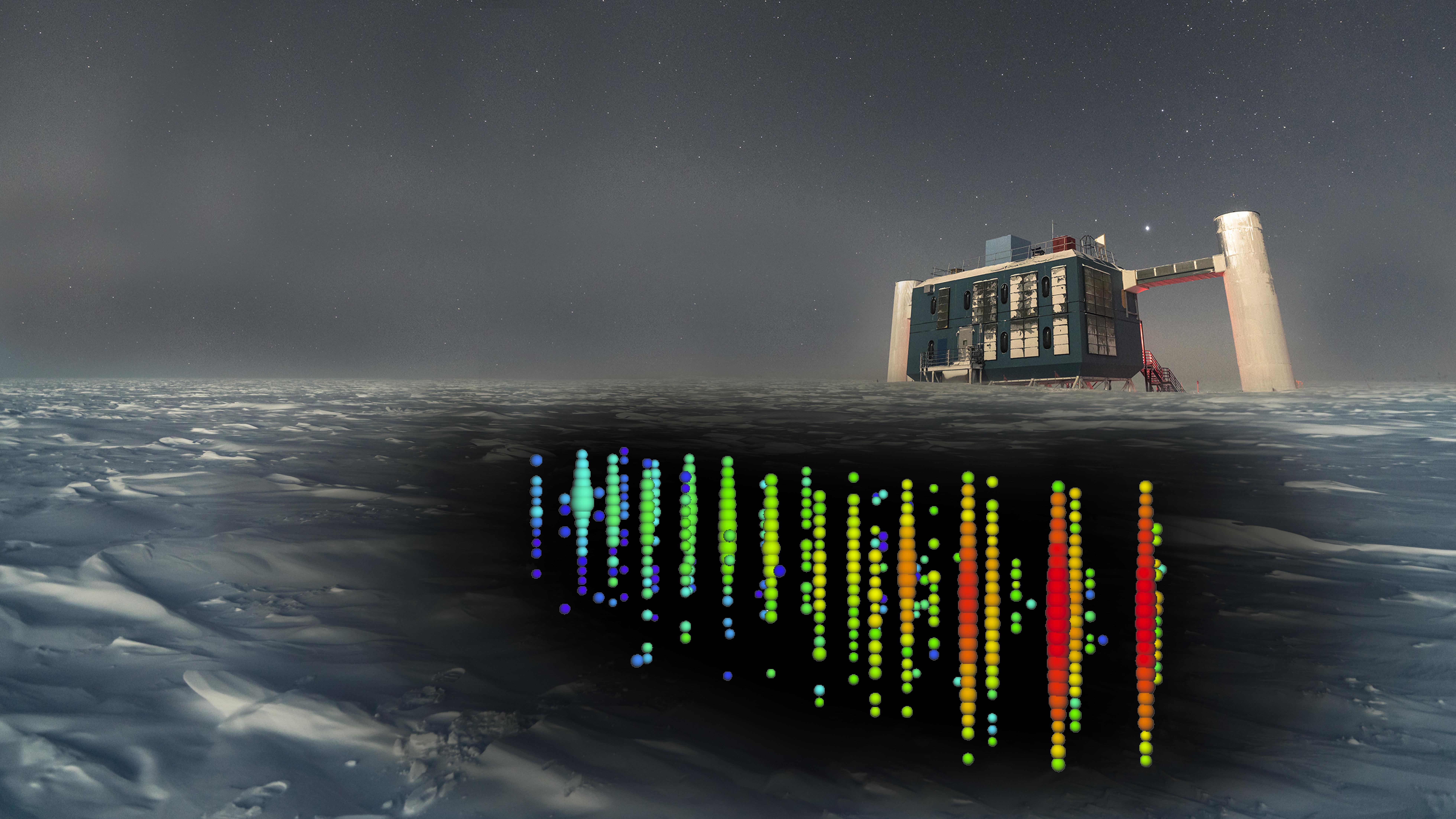 In questo rendering artistico, un'immagine dei sensori basata sulle misurazioni dell'evento neutrino IceCube-170922A